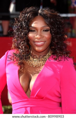 LOS ANGELES - JUL 13:  Serena Williams arriving at the 2011 ESPY Awards at Nokia Theater at LA Live on July 13, 2011 in Los Angeles, CA - stock photo