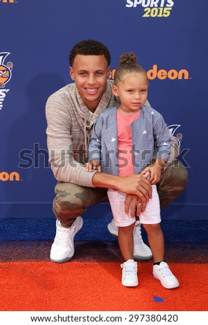 LOS ANGELES - JUL 16:  Stephen Curry, Riley Curry at the 2015 Kids' Choice Sports at the UCLA's Pauley Pavilion on July 16, 2015 in Westwood, CA - stock photo