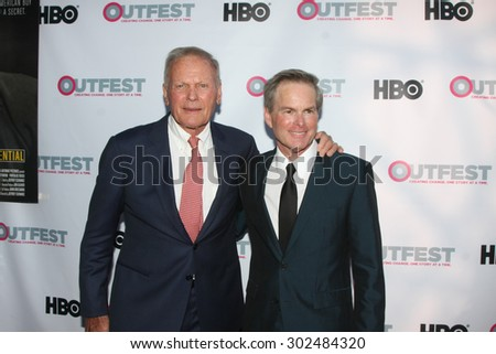 "LOS ANGELES - JUL 11:  Tab Hunter, Allan Glaser at the ""Tab Hunter Confidential"" at Outfest at the Directors Guild of America on July 11, 2015 in Los Angeles, CA - stock photo"
