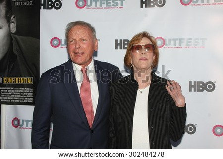 "LOS ANGELES - JUL 11:  Tab Hunter, Carol Burnett at the ""Tab Hunter Confidential"" at Outfest at the Directors Guild of America on July 11, 2015 in Los Angeles, CA - stock photo"