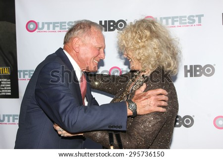 """LOS ANGELES - JUL 11:  Tab Hunter, Connie Stevens at the """"Tab Hunter Confidential"""" at Outfest at the Directors Guild of America on July 11, 2015 in Los Angeles, CA - stock photo"""