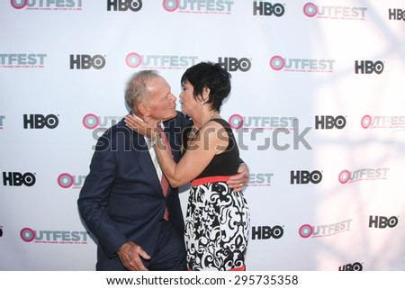 """LOS ANGELES - JUL 11:  Tab Hunter, Joyce DeWitt at the """"Tab Hunter Confidential"""" at Outfest at the Directors Guild of America on July 11, 2015 in Los Angeles, CA - stock photo"""