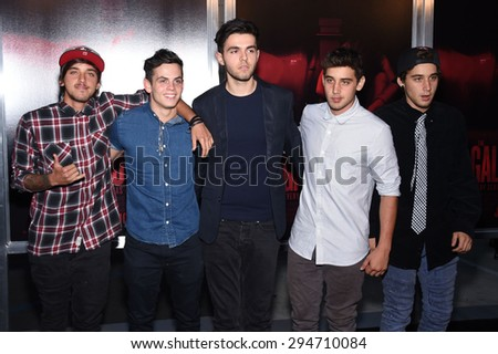 """LOS ANGELES - JUL 07:  The Janoskians arrives to the """"The Gallows"""" Los Angeles Premiere  on July 07, 2015 in Hollywood, CA                 - stock photo"""