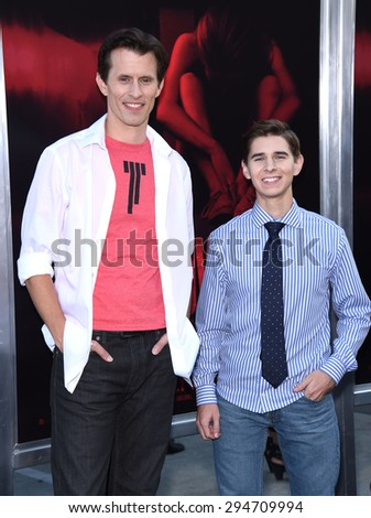 "LOS ANGELES - JUL 07:  Travis Cluff & Chris Lofing arrives to the ""The Gallows"" Los Angeles Premiere  on July 07, 2015 in Hollywood, CA                 - stock photo"