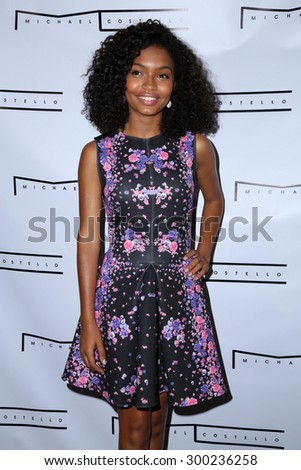 LOS ANGELES - JUL 23:  Yara Shahidi at the Michael Costello And Style PR Capsule Collection Launch Party  at the Private Location on July 23, 2015 in Los Angeles, CA - stock photo