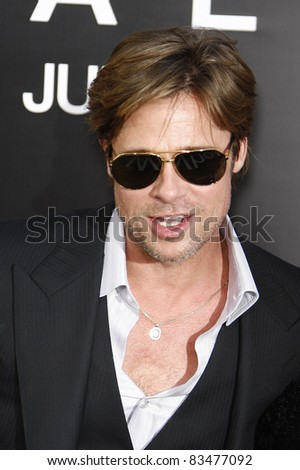 LOS ANGELES - JULY 19: Brad Pitt arrives at the 'Salt' Los Angeles Premiere at Grauman's Chinese Theater on July 19, 2010 in Los Angeles, California - stock photo