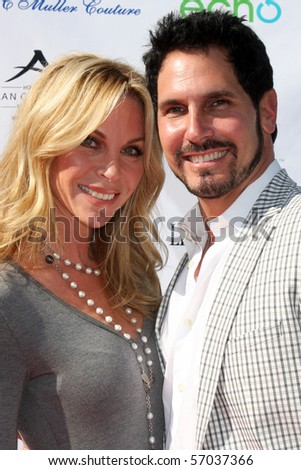LOS ANGELES  JULY 11: Cindy Ambuel & Don Diamont arrives at the Birgit C. Muller Fashion Show at Chaves Ranch on July 11, 2010 in Los Angeles, CA