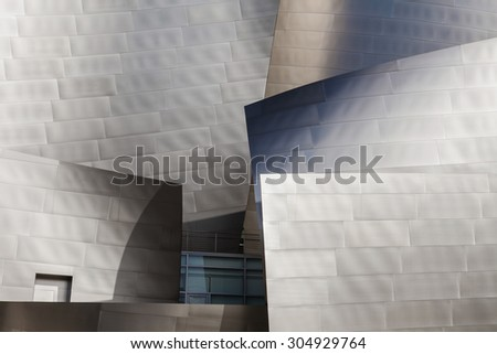 LOS ANGELES - JULY 26: Detail of the Walt Disney Concert Hall in Downtown Los Angeles, California, designed by Frank Gehry, is the fourth hall of the Los Angeles Music Center. - stock photo