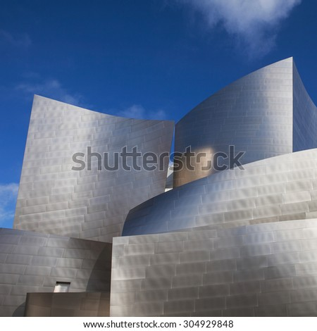 LOS ANGELES - JULY 26, 2015: Exterior of the Walt Disney Concert Hall in Los Angeles, designed by Frank Gehry. - stock photo
