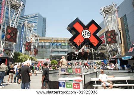 LOS ANGELES - JULY 29: Panoramic of the Nokia Plaza during the extreme sports ESPN X Games Seventeen in Los Angeles on July 29, 2011 in Los Angeles California.
