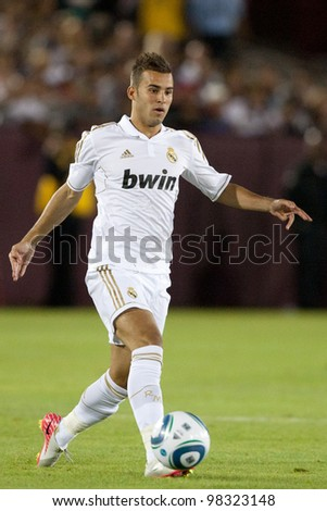 LOS ANGELES - JULY 16: Real Madrid C.F. M Jese #28 in action during the World Football Challenge game on July 16 2011 at the Los Angeles Memorial Coliseum in Los Angeles.