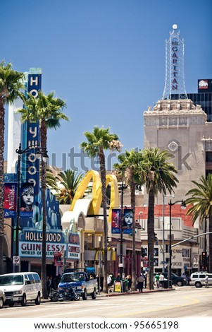 LOS ANGELES - JULY 19: View of Hollywood Boulevard on July 19, 2011 in Hollywood, CA. In 1958, the Hollywood Walk of Fame was created as a tribute to artists working in the entertainment industry. - stock photo