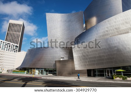 LOS ANGELES - JULY 26: Walt Disney Concert Hall in Los Angeles, CA on July 26, 2015. The hall was designed by Frank Gehry and is a major component in the Los Angeles Music Center complex. - stock photo