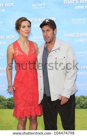 LOS  ANGELES- JUN 4: Adam Sandler, Eva Amurri Martino at the premiere of Columbia Pictures' 'That's My Boy' at the Regency Village Theater on June 4, 2012 in Los Angeles, California - stock photo