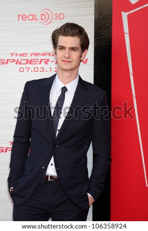 "LOS ANGELES - JUN 28:  Andrew Garfield arrives at the ""The Amazing Spider-Man"" Premiere at Village Theater on June 28, 2012 in Westwood, CA - stock photo"