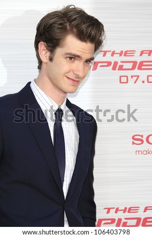 LOS ANGELES - JUN 28: Andrew Garfield at the premiere of Columbia Pictures' 'The Amazing Spider-Man' at the Regency Village Theater on June 28, 2012 in Los Angeles, California - stock photo