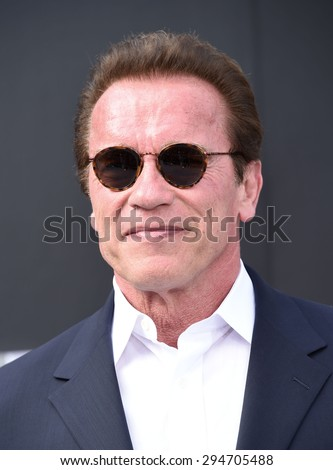 """LOS ANGELES - JUN 28:  Arnold Schwarzenegger arrives to the """"Terminator Genisys"""" Los Angeles Premiere  on June 28, 2015 in Hollywood, CA                 - stock photo"""