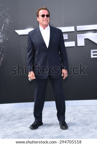 "LOS ANGELES - JUN 28:  Arnold Schwarzenegger arrives to the ""Terminator Genisys"" Los Angeles Premiere  on June 28, 2015 in Hollywood, CA                 - stock photo"