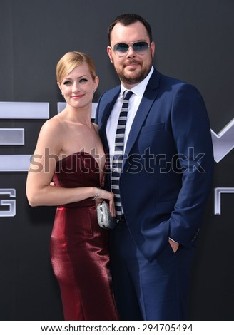 """LOS ANGELES - JUN 28:  Beth Behrs & Michael Gladis arrives to the """"Terminator Genisys"""" Los Angeles Premiere  on June 28, 2015 in Hollywood, CA                 - stock photo"""