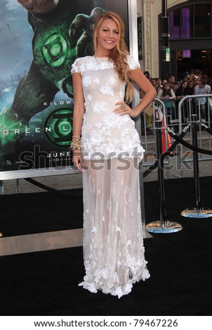"LOS ANGELES - JUN 15:  Blake Lively arrives to the ""Green Lantern"" Los Angeles Premiere  on June 15,2011 in Hollywood, CA - stock photo"