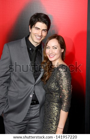 "LOS ANGELES - JUN 11:  Brandon Routh, Courtney Ford arrives at the  ""True Blood"" Season 6 Premiere Screening at the ArcLight Hollywood Theaters on June 11, 2013 in Los Angeles, CA - stock photo"