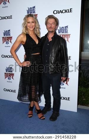 "LOS ANGELES - JUN 24:  Brittany Daniel, David Spade at the ""Joe Dirt 2: Beautiful Loser"" Premiere at the Sony Studios on June 24, 2015 in Culver City, CA - stock photo"
