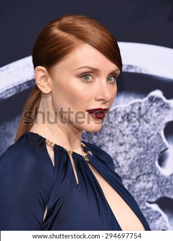 "LOS ANGELES - JUN 09:  Bryce Dallas Howard arrives to the ""Jurassic World"" World Premiere  on June 9, 2015 in Hollywood, CA                 - stock photo"