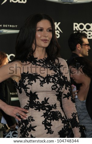 LOS ANGELES - JUN 8: Catherine Zeta Jones at the 'Rock of Ages' Los Angeles premiere held at Grauman's Chinese Theater on June 8, 2012 in Los Angeles, California - stock photo