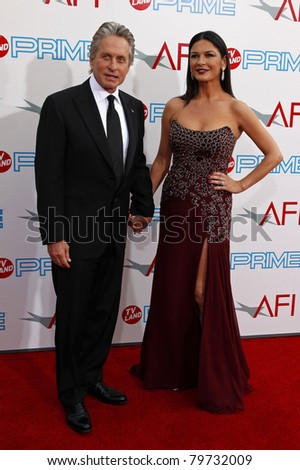 LOS ANGELES - JUN 11: Catherine Zeta Jones; husband Michael Douglas at the AFI Life Achievement Award: A Tribute to Michael Douglas at Sony Studios in Culver City, Los Angeles, CA on June 11, 2009. - stock photo