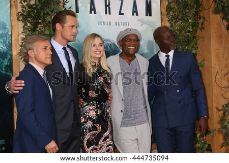 LOS ANGELES - JUN 27:  Christoph Waltz, Alexander Skarsgard, Margot Robbie, Samuel L. Jackson, Djimon Hounsou at The Legend Of Tarzan Premiere at the Dolby Theater on June 27, 2016 in Los Angeles, CA - stock photo