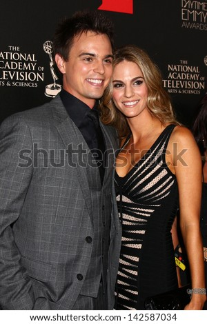 LOS ANGELES - JUN 16:  Darin Brooks, Kelly Kruger arrives at the 40th Daytime Emmy Awards at the Skirball Cultural Center on June 16, 2013 in Los Angeles, CA - stock photo