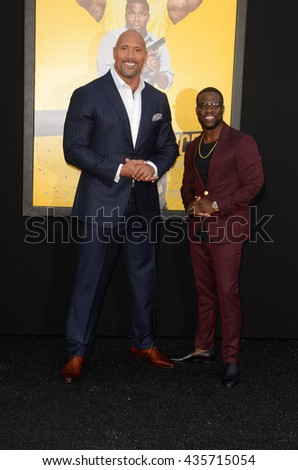 LOS ANGELES - JUN 10:  Dwayne Johnson, Kevin Hart at the Central Intelligence Los Angeles Premiere at the Village Theater on June 10, 2016 in Westwood, CA - stock photo