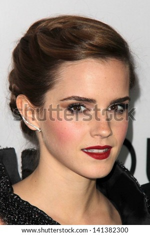 "LOS ANGELES - JUN 4:  Emma Watson arrivesa at the ""The Bling Ring"" Los Angeles Premiere at the DGA Theater on June 4, 2013 in Los Angeles, CA - stock photo"