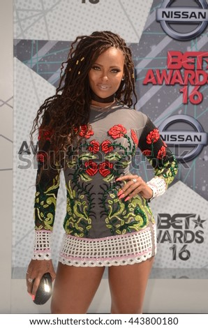 LOS ANGELES - JUN 26:  Eva Marcille at the BET Awards Arrivals at the Microsoft Theater on June 26, 2016 in Los Angeles, CA - stock photo