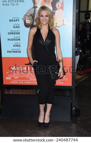 """LOS ANGELES - JUN 23:  Hunter King arrives to the """"Wish I Was Here"""" Los Angeles Premiere  on June 23, 2014 in Los Angeles, CA                 - stock photo"""
