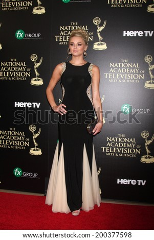 LOS ANGELES - JUN 22:  Hunter King at the 2014 Daytime Emmy Awards Arrivals at the Beverly Hilton Hotel on June 22, 2014 in Beverly Hills, CA - stock photo