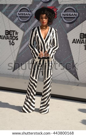 LOS ANGELES - JUN 26:  Janelle Monae at the BET Awards Arrivals at the Microsoft Theater on June 26, 2016 in Los Angeles, CA - stock photo