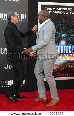 LOS ANGELES - JUN 20:  Jeff Goldblum, Deobia Oparei at the Independence Day: Resurgence LA Premiere at the TCL Chinese Theater IMAX on June 20, 2016 in Los Angeles, CA - stock photo