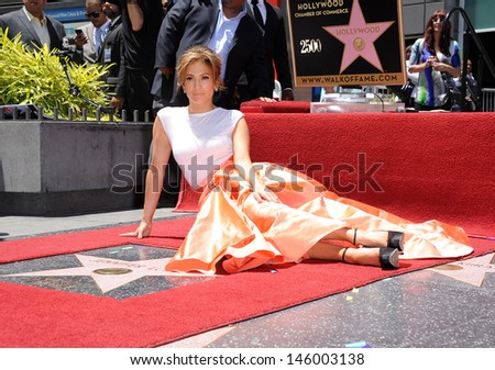LOS ANGELES - JUN 19:  Jennifer Lopez arrives to the Walk of Fame Honors Jennifer Lopez  on June 19,2013 in Hollywoods, CA                 - stock photo