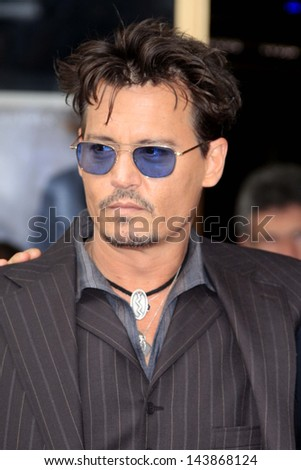 LOS ANGELES - JUN 24:  Johnny Depp at  the Jerry Bruckheimer Star on the Hollywood Walk of Fame  at the El Capitan Theater on June 24, 2013 in Los Angeles, CA - stock photo