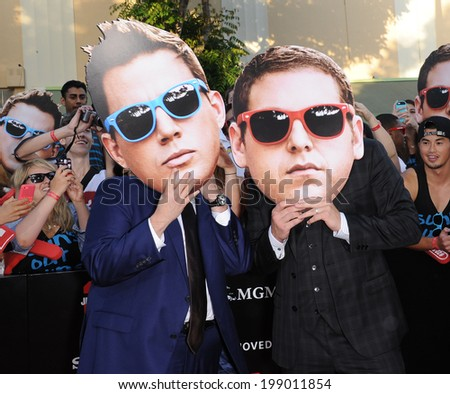 "LOS ANGELES - JUN 09:  Jonah Hill & Channing Tatum arrives to the ""22 Jump Street"" World Premiere  on June 09, 2014 in North Hollywood, CA                 - stock photo"