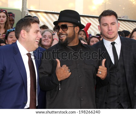 "LOS ANGELES - JUN 10:  Jonah Hill, Ice Cube, Channing Tatum at the ""22 Jump Street"" Premiere at Village Theater on June 10, 2014 in Westwood, CA"