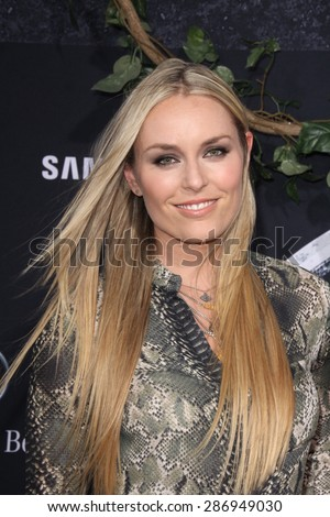 "LOS ANGELES - JUN 9:  Lindsey Vonn at the ""Jurassic World"" World Premiere at the Dolby Theater, Hollywood & Highland on June 9, 2015 in Los Angeles, CA  - stock photo"
