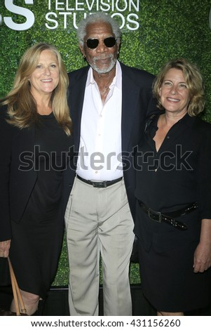 LOS ANGELES - JUN 2:  Lori McCreary, Morgan Freeman, Barbara Hall at the 4th Annual CBS Television Studios Summer Soiree at the Palihouse on June 2, 2016 in West Hollywood, CA - stock photo