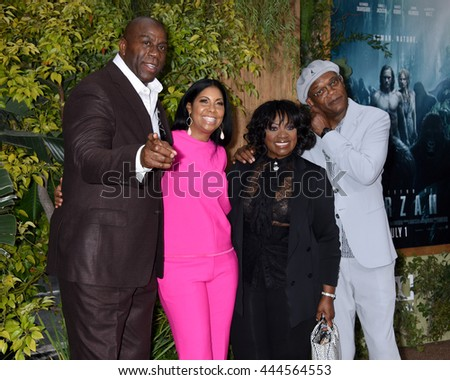 LOS ANGELES - JUN:  Magic Johnson, Cookie Johnson, LaTanya Richardson and Samuel L. Jackson arrives to The Legend Of Tarzan World Premiere  on June 27, 2016 in Hollywood, CA