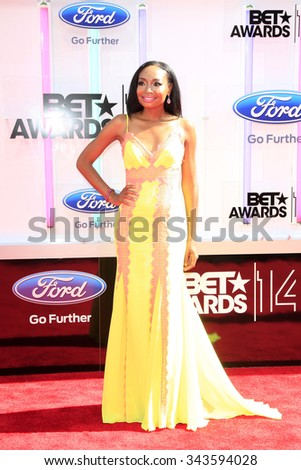 LOS ANGELES - JUN 29:  Malina Moye at the 2014 BET Awards - Arrivals at the Nokia Theater at LA Live on June 29, 2014 in Los Angeles, CA - stock photo