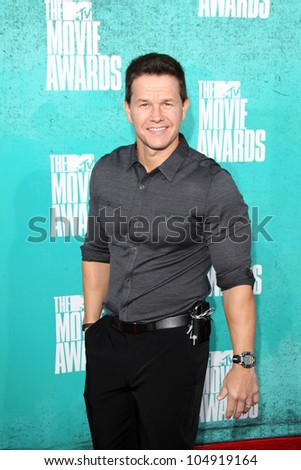 LOS ANGELES - JUN 3:  Mark Wahlberg arriving at the 2012 MTV Movie Awards at Gibson Ampitheater on June 3, 2012 in Los Angeles, CA - stock photo