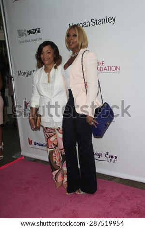 LOS ANGELES - JUN 13: Mary J Blige, Simone Smith at the  LadyLike Foundation 7th Annual Women Of Excellence Scholarship Luncheon at Luxe Hotel on June 13, 2015 in Los Angeles, California. - stock photo