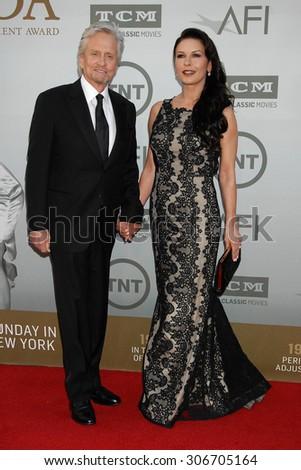 LOS ANGELES - JUN 5:  Michael Douglas and wife Catherine Zeta-Jones arrives at the AFI TRIBUTE TO JANE FONDA   on June 5, 2014 in Hollywood, CA                 - stock photo