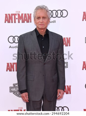 "LOS ANGELES - JUN 29:  Michael Douglas arrives to the ""Ant-Man"" World Premiere  on June 29, 2015 in Hollywood, CA                 - stock photo"